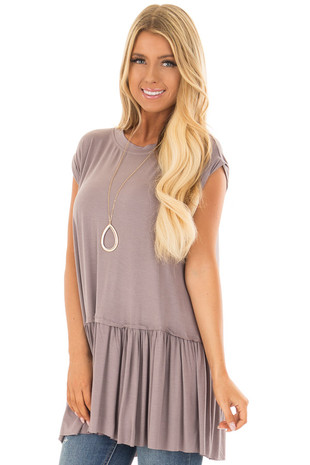 Ash Violet Top with Gathered Hemline front closeup