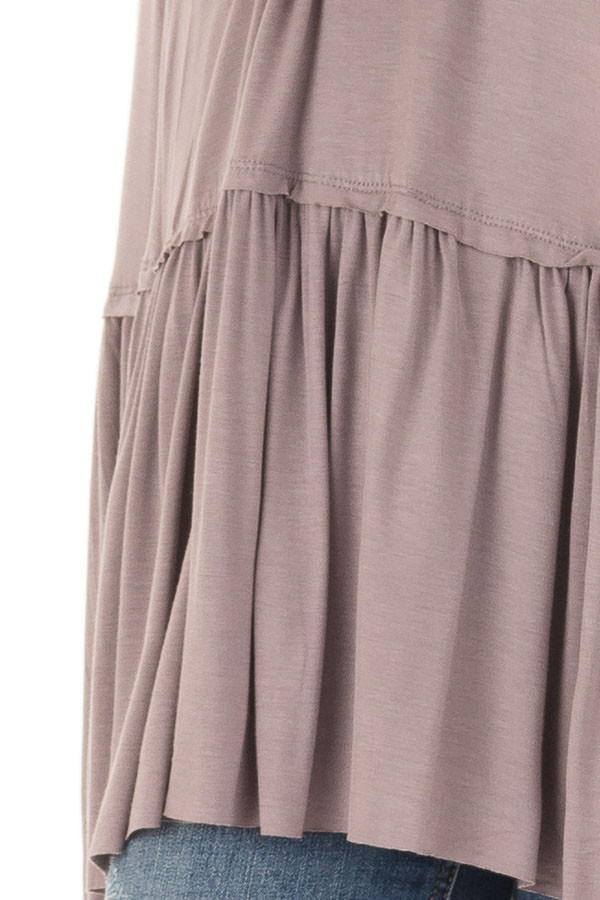 Ash Violet Top with Gathered Hemline front detail