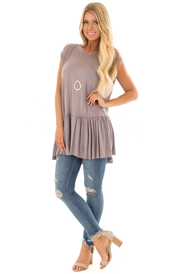 Ash Violet Top with Gathered Hemline front full body