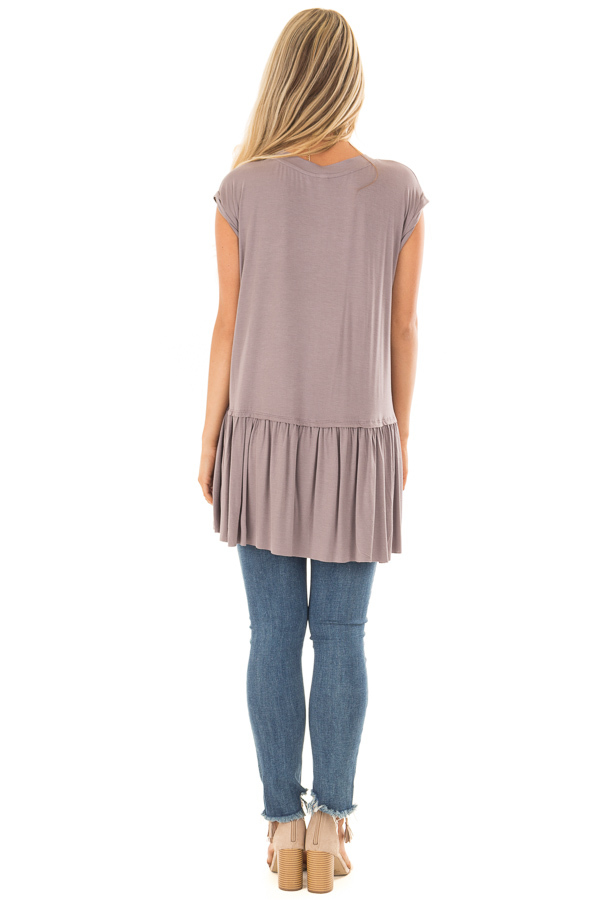 Ash Violet Top with Gathered Hemline back full body