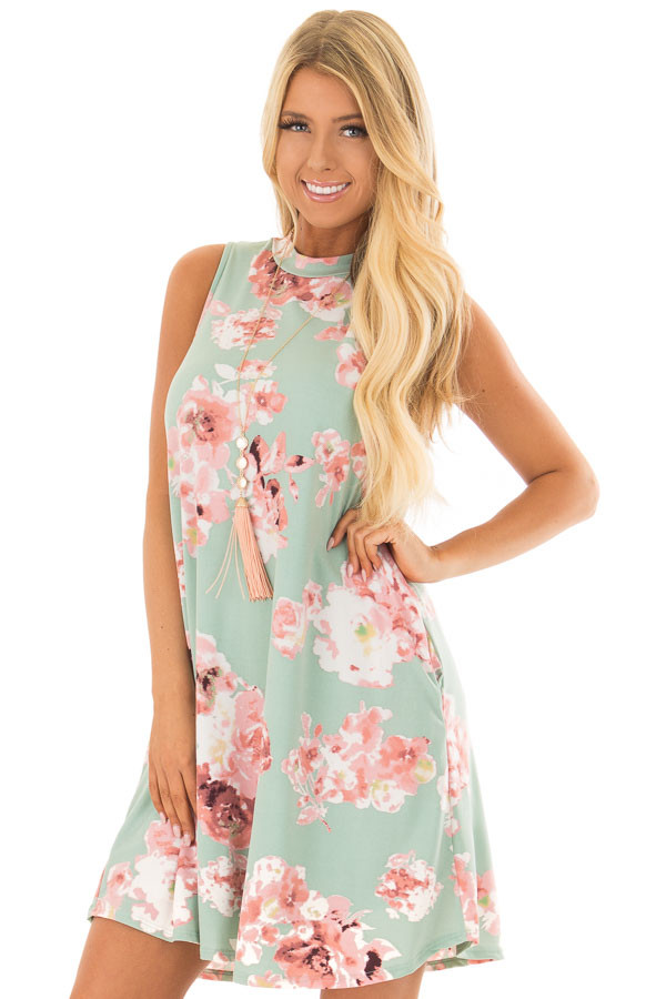 Sage Floral Tank Dress with Side Pockets front closeup
