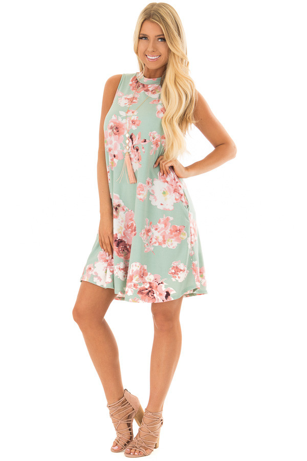 Sage Floral Tank Dress with Side Pockets front full body