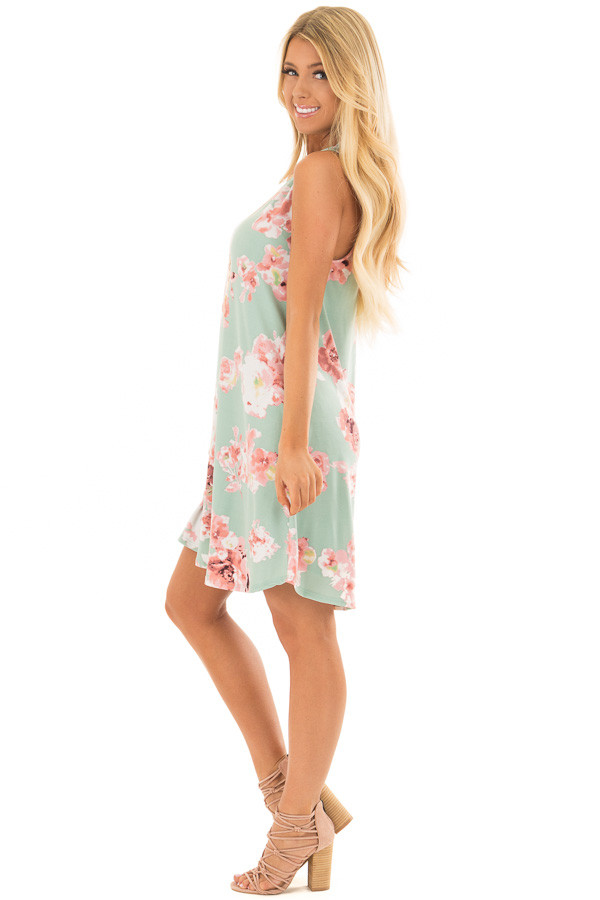 Sage Floral Tank Dress with Side Pockets side full body