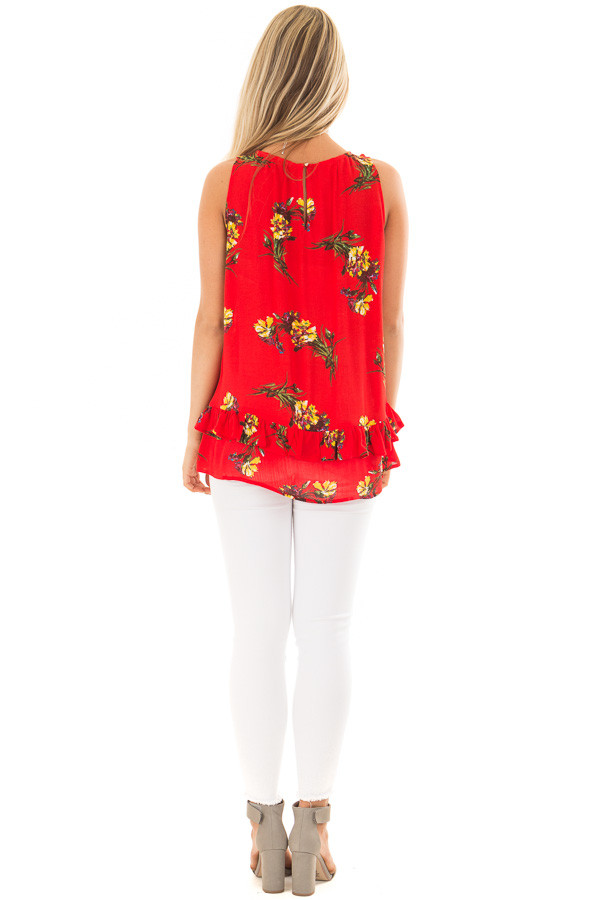 Bright Red Floral Print Tank Top with Ruffle Detail back full body