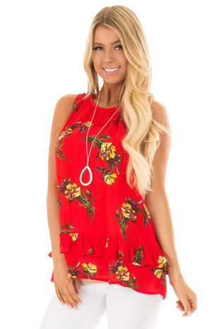 Bright Red Floral Print Tank Top with Ruffle Detail front closeup