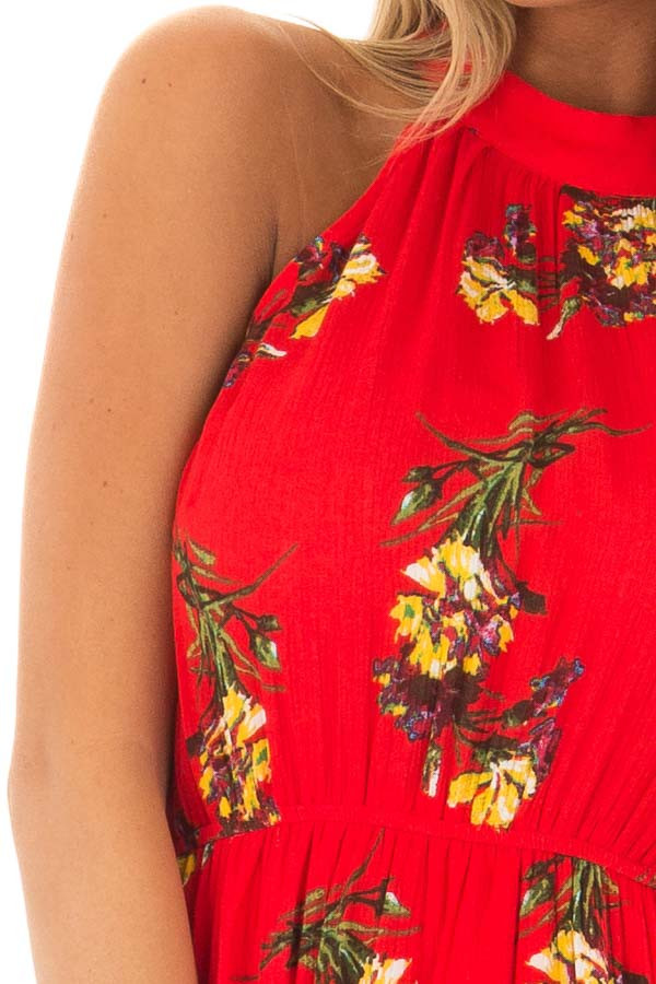 Bright Red Floral Print Wrap Style Midi Dress with High Neck front detail