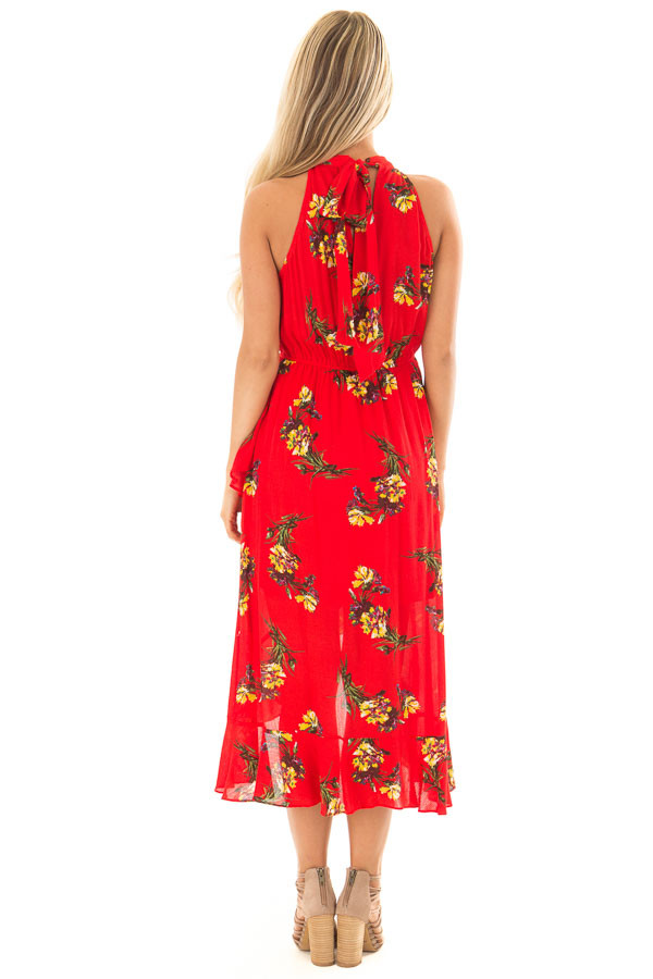 Bright Red Floral Print Wrap Style Midi Dress with High Neck back full body