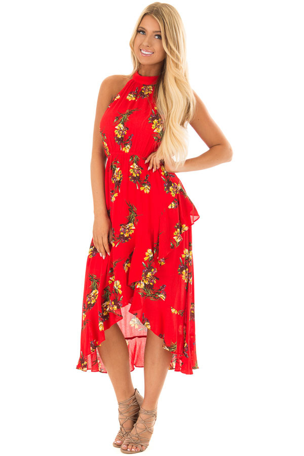 Bright Red Floral Print Wrap Style Midi Dress with High Neck front full body