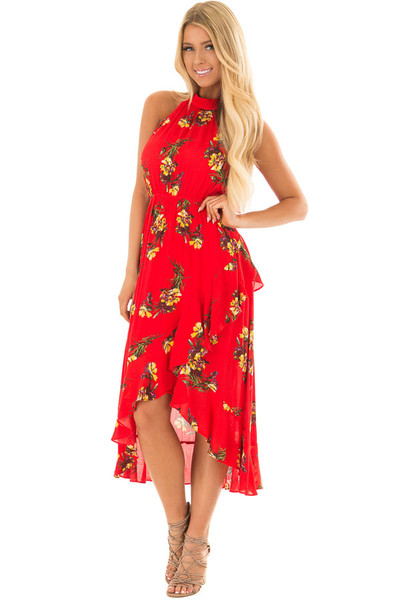 Bright Red Floral Print Wrap Style Midi Dress with High Neck front closeup