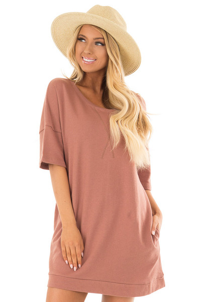 Mahogany Loose Fit Half Sleeve Dress with Pockets front closeup