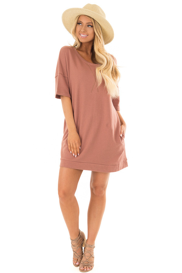 Mahogany Loose Fit Half Sleeve Dress with Pockets front full body