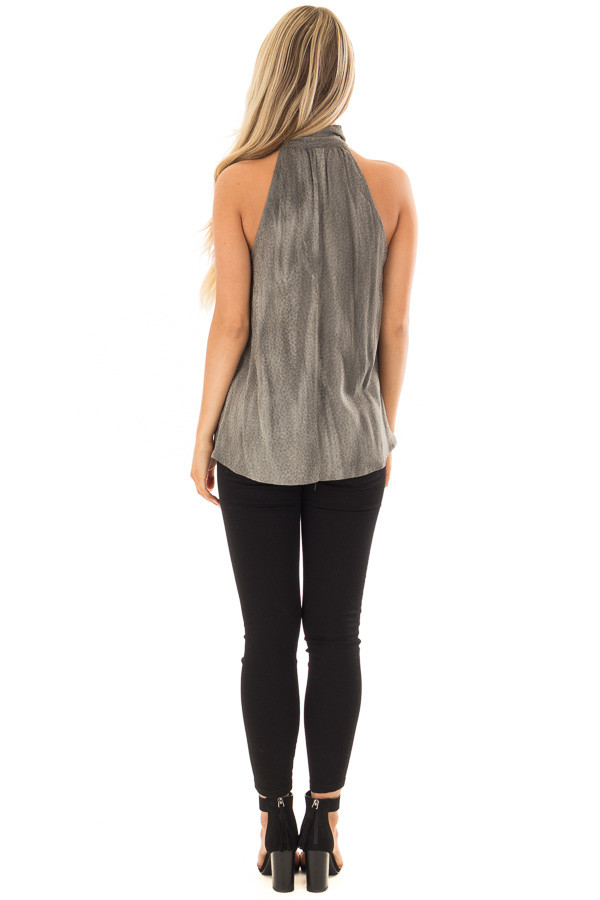 Charcoal Polka Dot Tank Top with Neck Tie Detail back full body