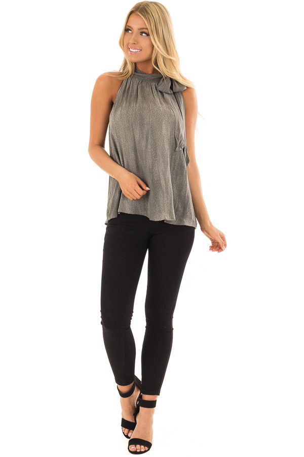 Charcoal Polka Dot Tank Top with Neck Tie Detail front full body