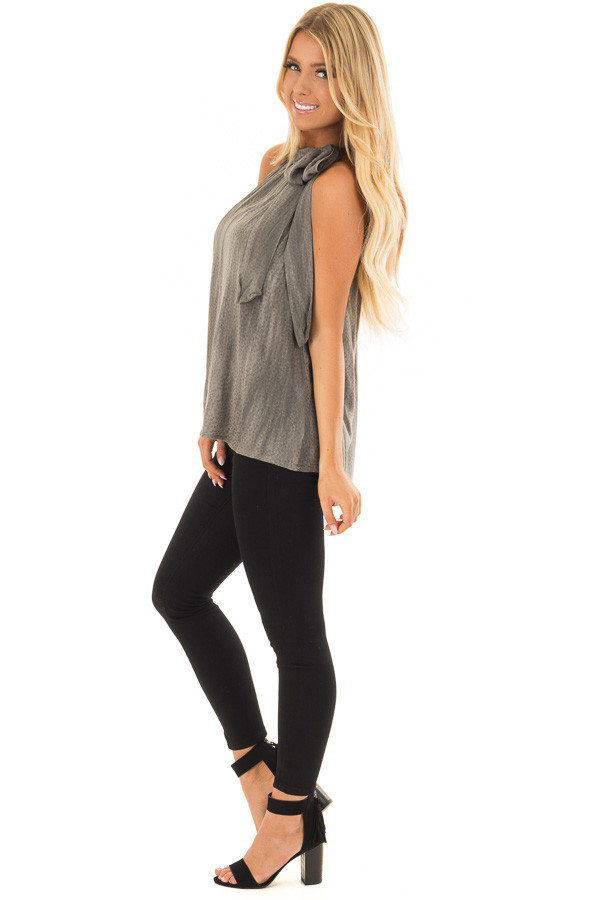 Charcoal Polka Dot Tank Top with Neck Tie Detail side full body