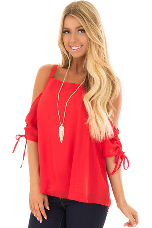 Lipstick Red Cold Shoulder Top with Ruched Sleeves front close up