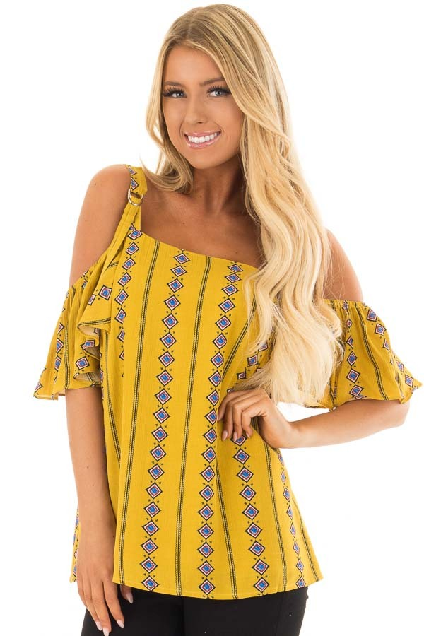 Mustard Patterned Cold Shoulder Top with Ruffle Sleeves front close up