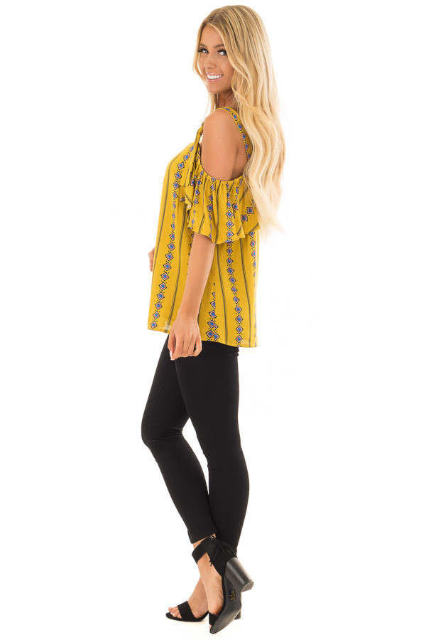 Mustard Patterned Cold Shoulder Top with Ruffle Sleeves side full body