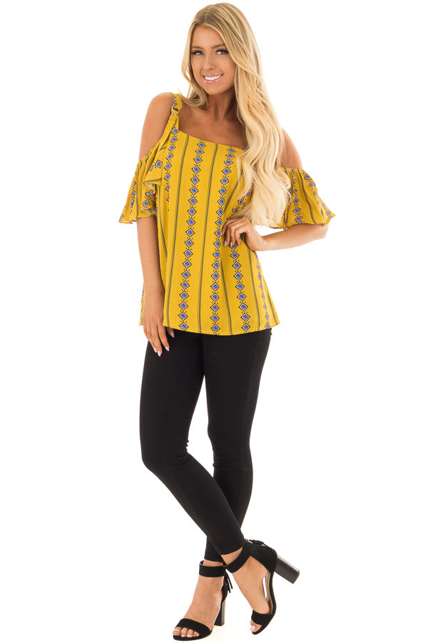 Mustard Patterned Cold Shoulder Top with Ruffle Sleeves front full body
