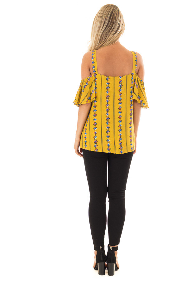 Mustard Patterned Cold Shoulder Top with Ruffle Sleeves back full body