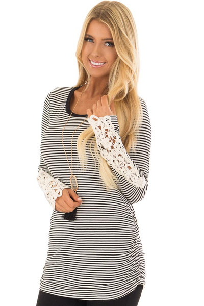 Black and White Striped Top with Crochet Detail on Sleeves front close up