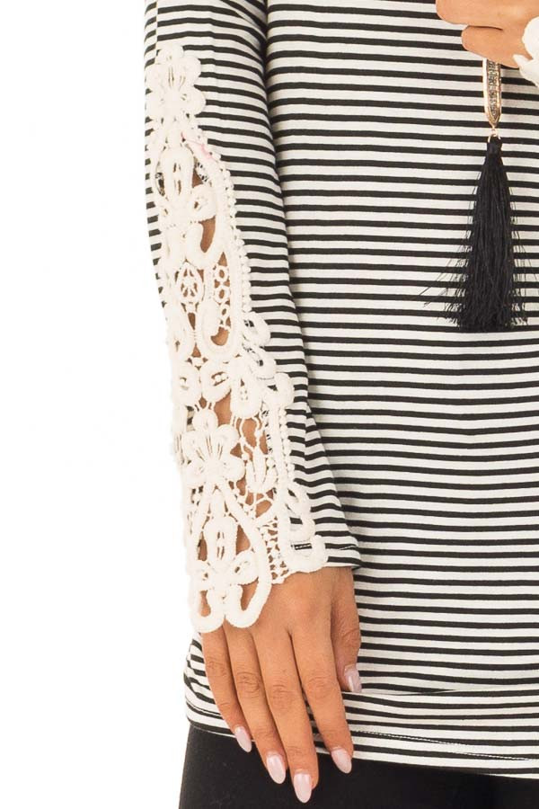 Black and White Striped Top with Crochet Detail on Sleeves detail