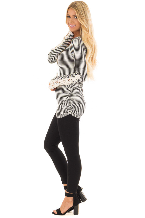 Black and White Striped Top with Crochet Detail on Sleeves side full body