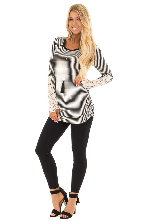 Black and White Striped Top with Crochet Detail on Sleeves front full body