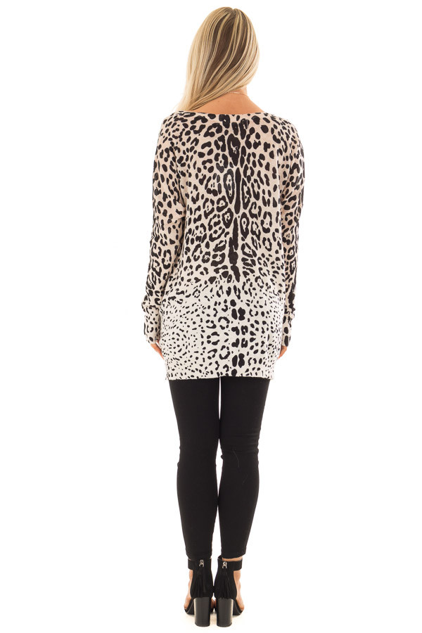 Taupe Leopard Long Sleeve Top with V Neck back full body
