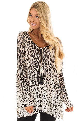 Taupe Leopard Long Sleeve Top with V Neck front close up