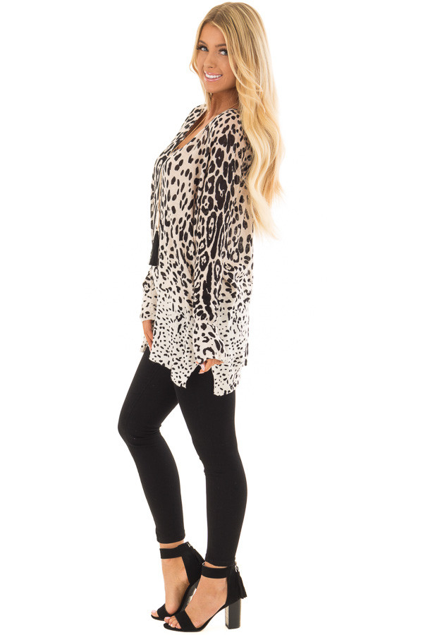 Taupe Leopard Long Sleeve Top with V Neck side full body