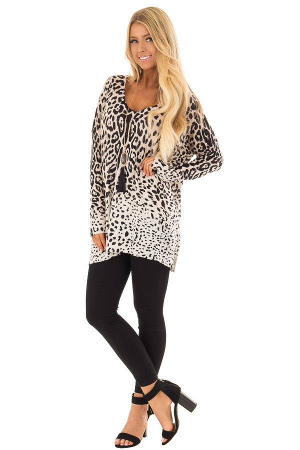 Taupe Leopard Long Sleeve Top with V Neck front full body