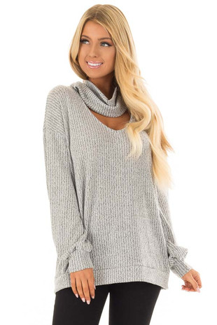 Heather Grey Two Tone Cowl Neck Top with Cut Out Neckline front close up