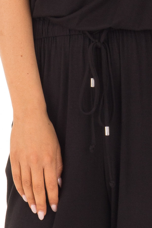 Black Sleeveless Jumpsuit with Waist Tie and Pockets detail