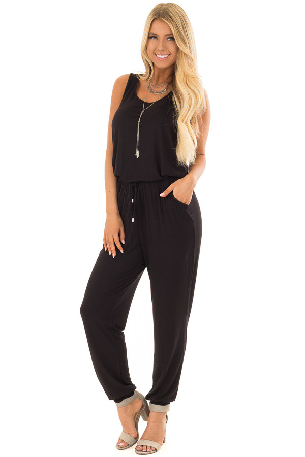 Black Sleeveless Jumpsuit with Waist Tie and Pockets front full body