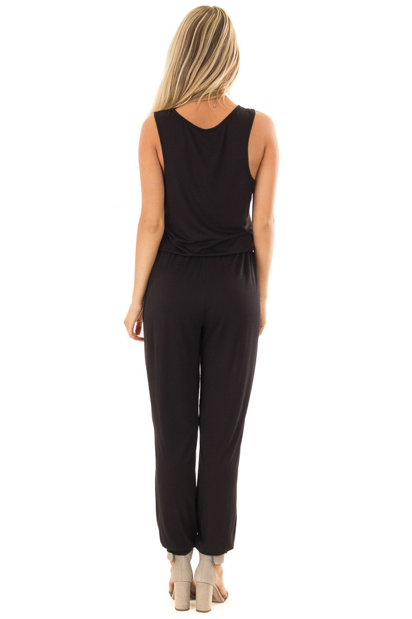 Black Sleeveless Jumpsuit with Waist Tie and Pockets back full body