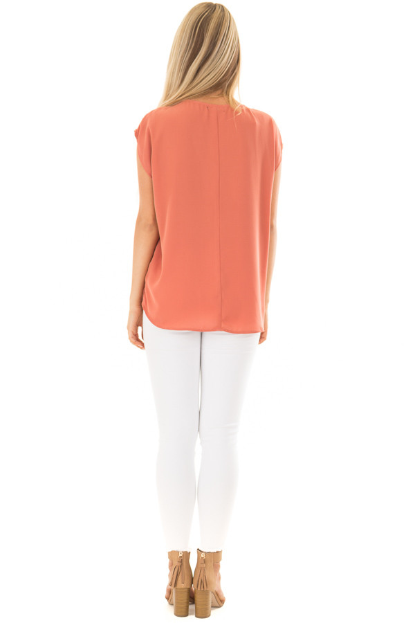 Rust Cap Sleeve Top with Ladder Neckline back full body