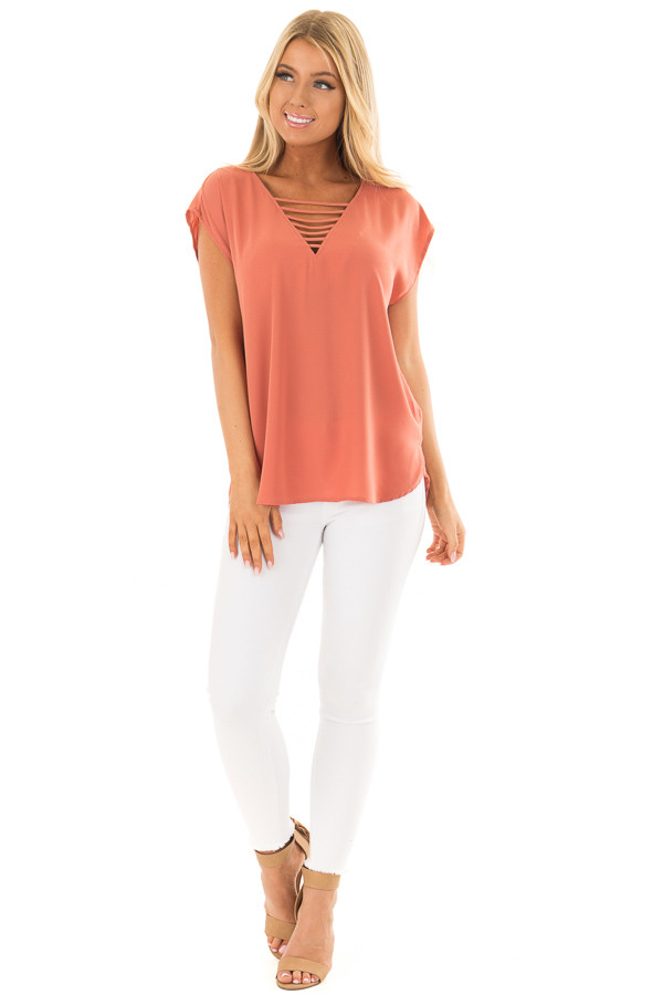 Rust Cap Sleeve Top with Ladder Neckline front full body