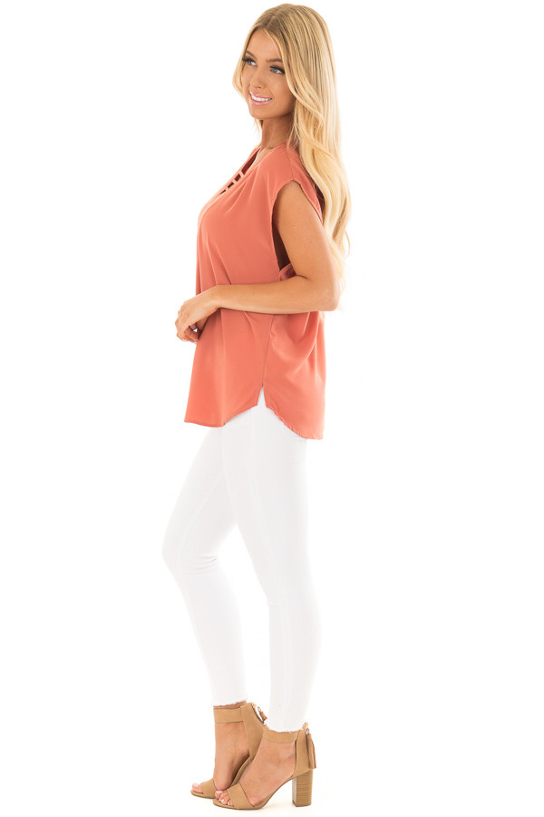 Rust Cap Sleeve Top with Ladder Neckline side full body