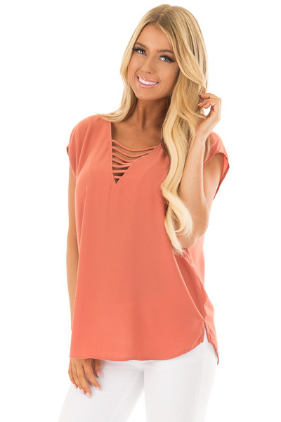 Rust Cap Sleeve Top with Ladder Neckline front close up