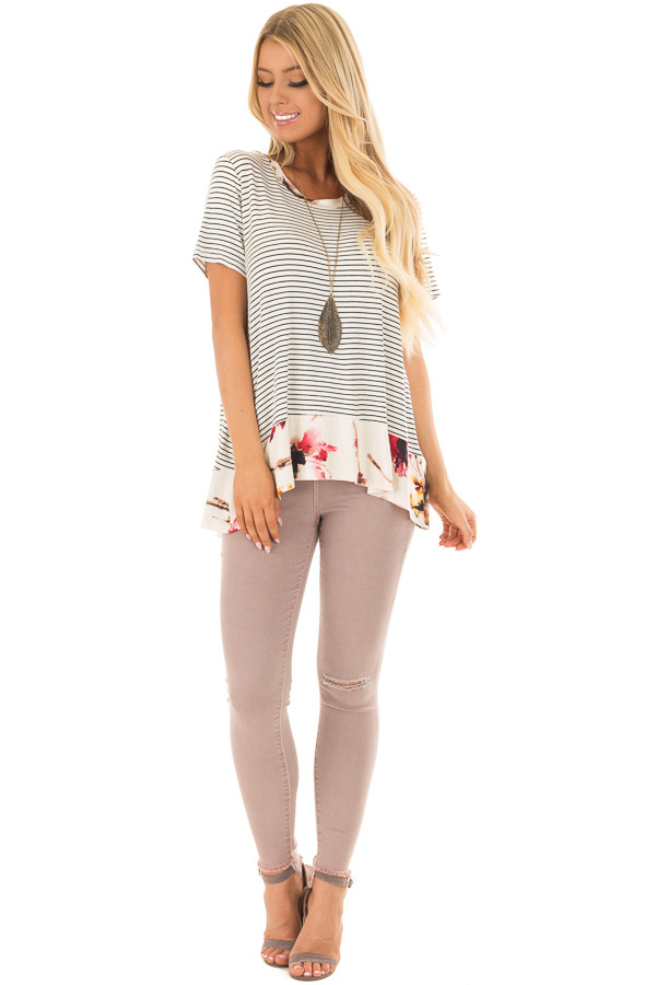 Ivory and Black Striped Top with Floral Contrast Hemline front full body