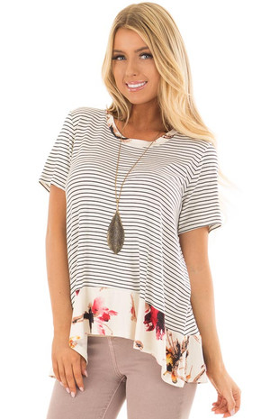 Ivory and Black Striped Top with Floral Contrast Hemline front closeup