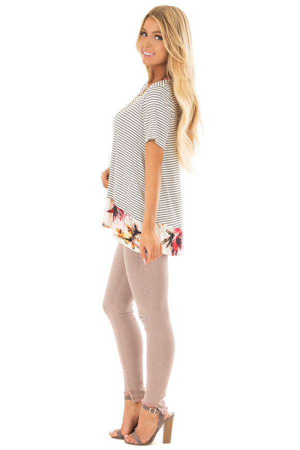 Ivory and Black Striped Top with Floral Contrast Hemline side full body