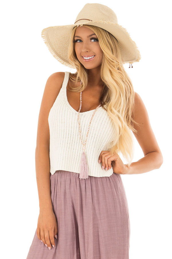 Ivory Thick Knit V Neck Cropped Tank Top front closeup