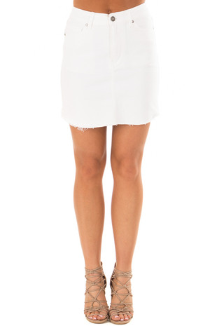 White Denim Skirt with Raw Hem  front