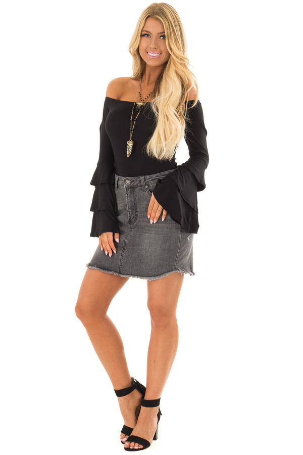 Dark Grey Denim Skirt with Raw Hem front full body