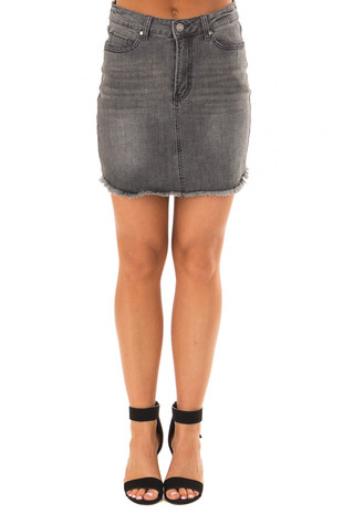 Dark Grey Denim Skirt with Raw Hem front