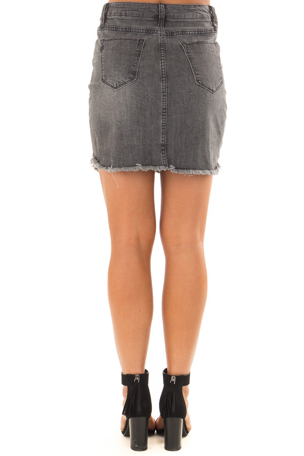 Dark Grey Denim Skirt with Raw Hem back