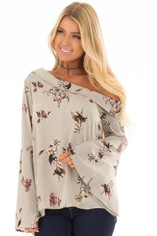 Cream and Grey Striped One Shoulder Blouse front closeup