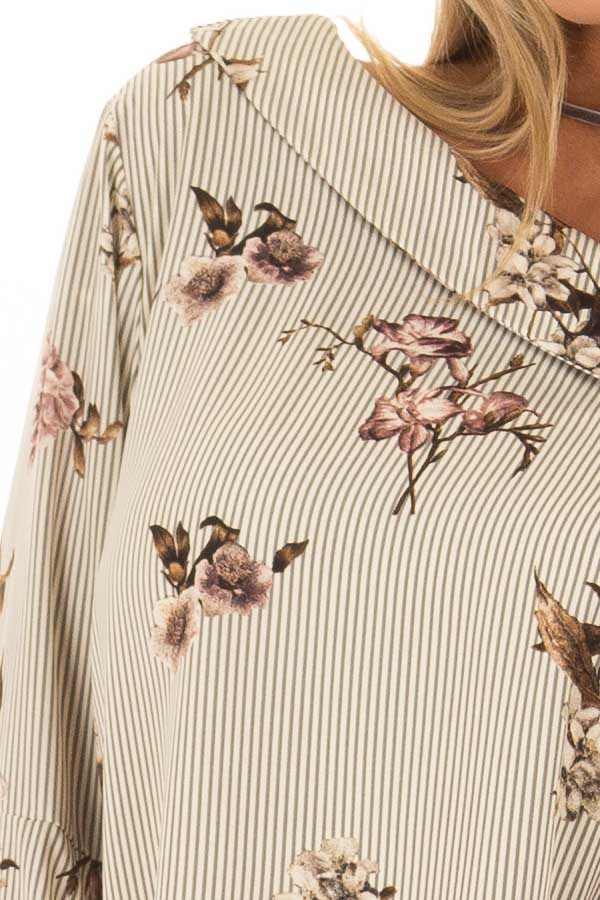 Cream and Grey Striped One Shoulder Blouse front detail