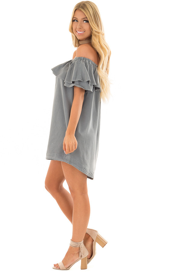 Dusty Teal Off the Shoulder Dress with Pockets side full body